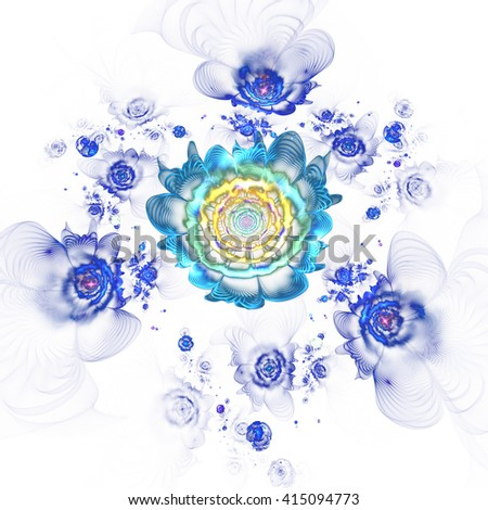 Abstract colorful blue flowers on white background. Fantasy fractal design for postcards or t-shirts. - stock photo