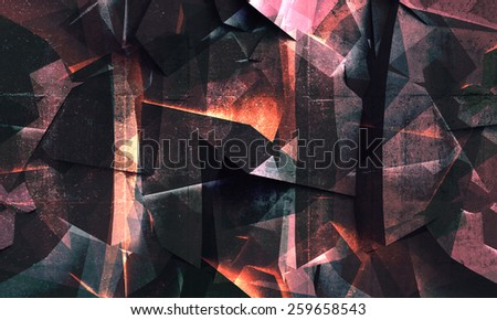 Abstract colorful dark concrete polygonal crystal structure background. Modern digital art. 3d illustration, texture and filters - stock photo