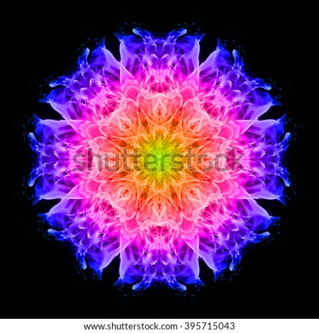 Abstract colorful flame on black background - stock photo