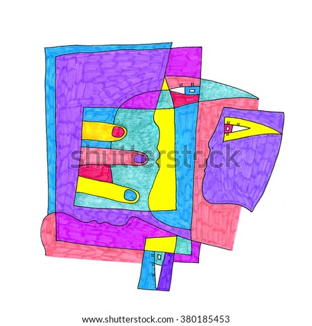 Abstract colorful freehand drawing of three people faces - stock photo