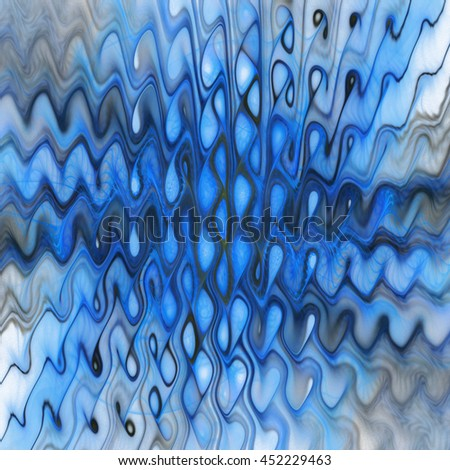 Abstract colorful grey and blue waves on white background. Fantasy fractal design. - stock photo