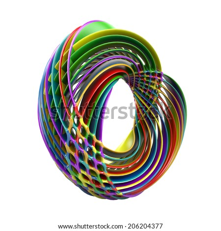 Abstract colorful layered torus isolated on white background - stock photo