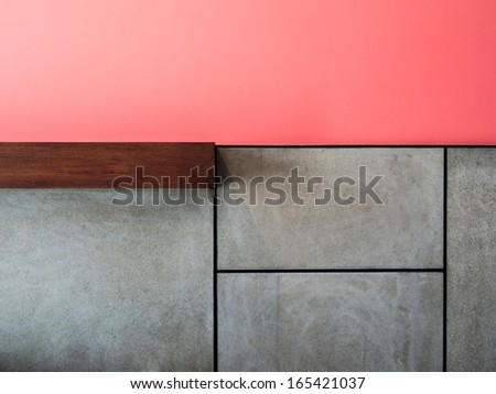 Abstract colorful modern interior wall decorate with cement board - stock photo