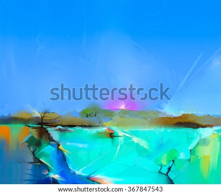 Abstract colorful oil painting landscape on canvas. Semi- abstract image of tree, hill and green field with blue sky. Spring season nature background - stock photo