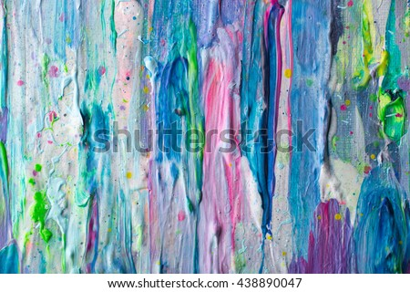 Abstract colorful painting - close up details. Macro acrylic thick paint strokes. - stock photo