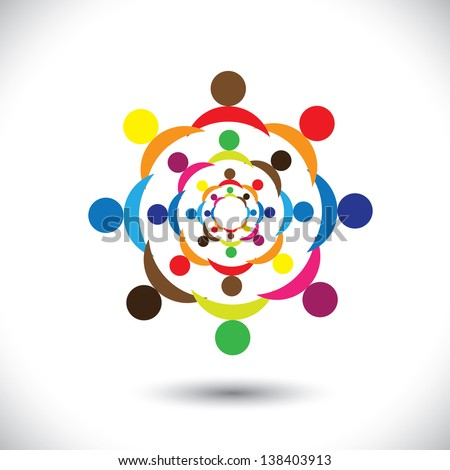Abstract colorful people signs in circles. This icon illustration can also represent concept of children playing together or friendship or team building or group activity,etc - stock photo