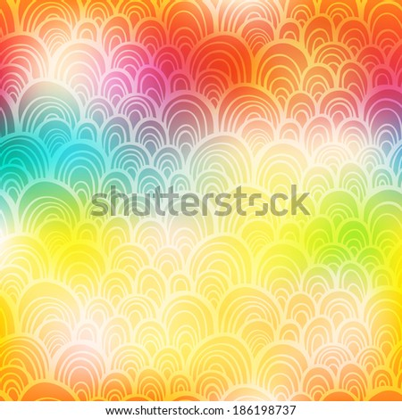 Abstract colorful rainbow ornamental background with scale texture - stock photo