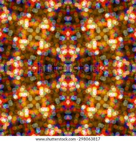 abstract colorful seamless pattern kaleidoscope made from  circular bokeh for use at graphic design  - stock photo
