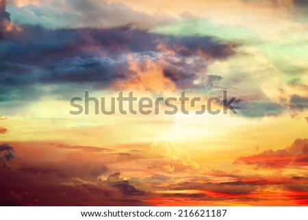 Abstract colorful sky and clouds on the wall background texture - stock photo