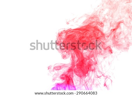 Abstract colorful smoke on white background, smoke background,colorful ink background, red and blue fire - stock photo