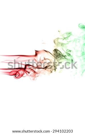 Abstract colorful smoke on white background, smoke background,colorful ink background,red and Green smoke - stock photo