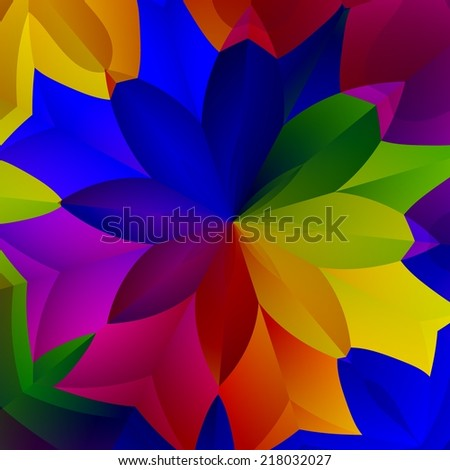 Abstract Colorful Spring Flower Plant Art Illustration - Creative Floral Fresh Fantasy Plant - Red Green Yellow Blue Purple Colors - Decorative Exotic Background Design - Vividly Colored Petals - stock photo