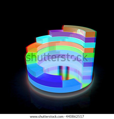 Abstract colorful structure on a black background. 3D illustration. Anaglyph. View with red/cyan glasses to see in 3D. - stock photo
