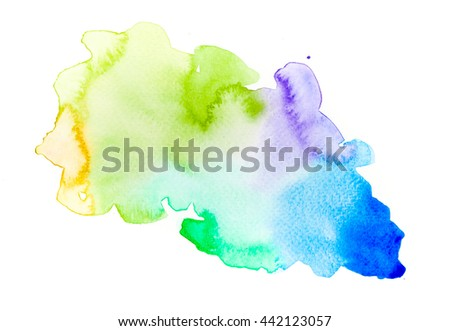 Abstract colorful watercolor art hand paint on white background  - stock photo