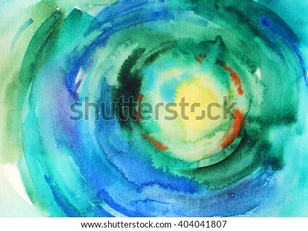 Abstract colorful watercolor background. Ink illustration. Dynamic blots. Hand drawn backdrop for your design. Blue and green watercolor background for textures and backgrounds - stock photo
