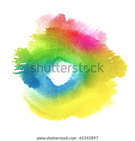 Abstract colorful watercolor hand painted background - stock photo