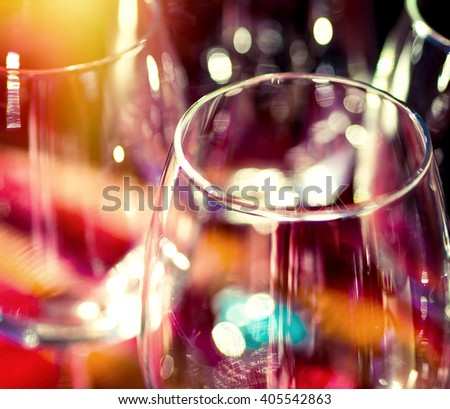 Abstract, colourful shot of wine glasses - stock photo