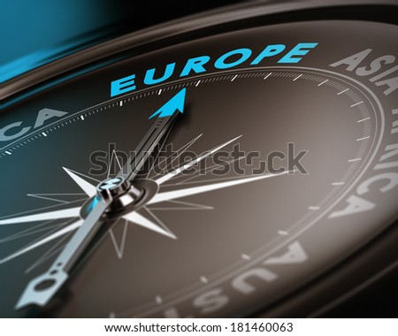 Abstract compass needle pointing the destination europe, blue and brown tones with focus on the main word. Concept image suitable for illustration of trip counseling. - stock photo