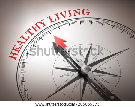 abstract compass with needle pointing the word healthy living in red and white tones - stock photo