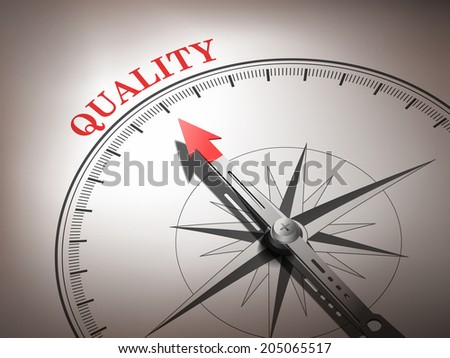 abstract compass with needle pointing the word quality in red and white tones - stock photo