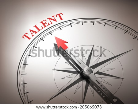abstract compass with needle pointing the word talent in red and white tones - stock photo