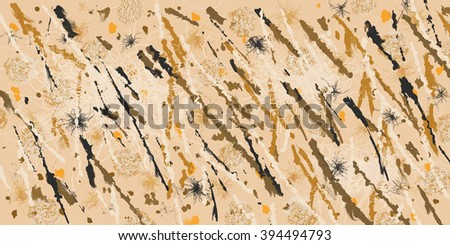 Abstract composed of many earth tone colors and lines - stock photo