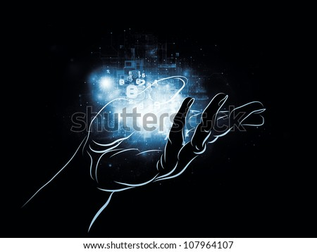 Abstract composition of human hand and technological elements suitable as design element in projects related to science, alternative energy and portable technologies - stock photo