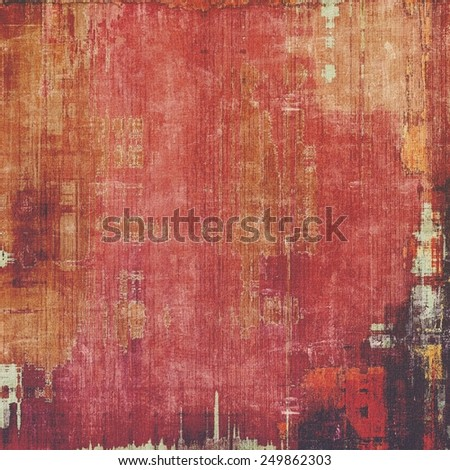 Abstract composition on textured, vintage background with grunge stains. With different color patterns: yellow (beige); brown; purple (violet); red (orange); pink - stock photo