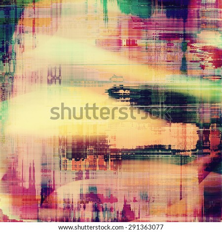 Abstract composition on textured, vintage background with grunge stains. With different color patterns: yellow (beige); green; purple (violet); red (orange) - stock photo