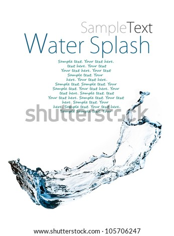 Abstract composition with beautiful blue splashing water with sample text - stock photo