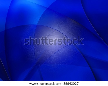 Abstract composition with curves, lines, gradients deep blue - stock photo