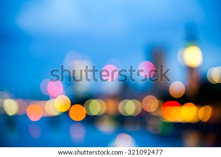 Abstract composition with London lights, blurred - stock photo