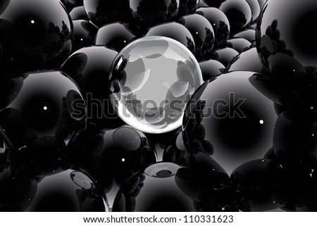 Abstract composition with spheres and bubbles - stock photo