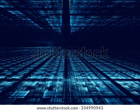 Abstract computer-generated blue technology background with the horizon, grid and perspective - stock photo