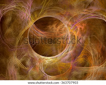 Abstract computer-generated image sand background with chaos curves and circle - stock photo