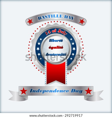 Abstract computer graphic design;14th July Bastille Day of France; Holidays layout template with metallic badge and national flag colors background for fourteenth July, France Independence Day - stock photo