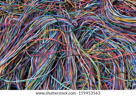 Abstract computer network connections, information chaos - stock photo