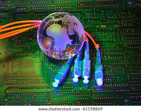 Abstract computer with technology earth globe against fiber optic background - stock photo