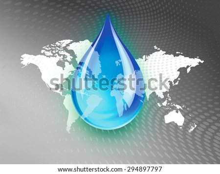 Abstract concept illustration indicating a world wide fresh water crisis or shortage with a droplet of water suspended over a shrinking green space global map with swirling dots background. - stock photo