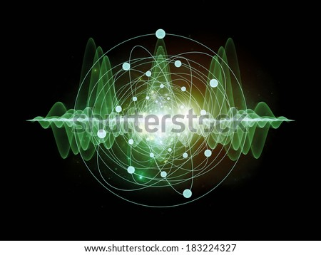 Abstract concept of atom and quantum waves illustrated with fractal elements - stock photo