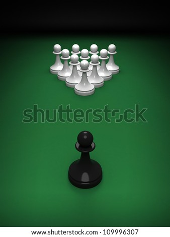 Abstract concept of chess and pool mix. One black pawn opposite whites on the green pool table. 3d render illustration. - stock photo