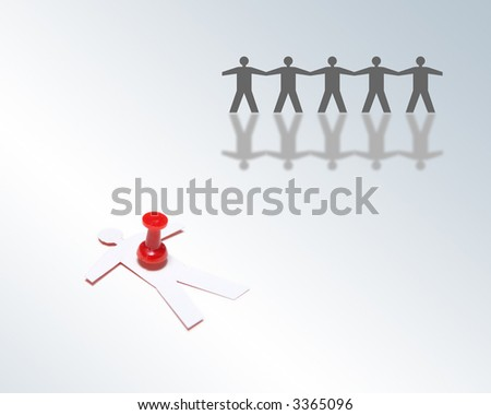 Abstract concept of fallen businessman stabbed with red push pin - stock photo