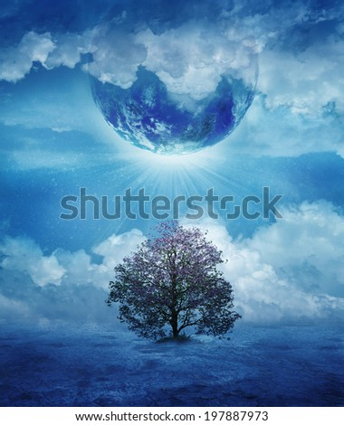 Abstract concept of the last tree in a desert world. Elements of the image furnished by NASA. - stock photo
