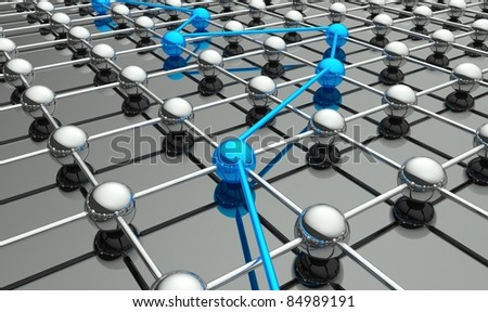 Abstract conception of network and communication, flow of information 3d - stock photo