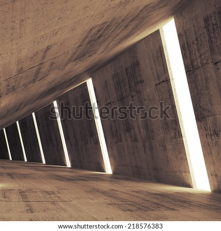 Abstract concrete 3d interior perspective with light stripes - stock photo
