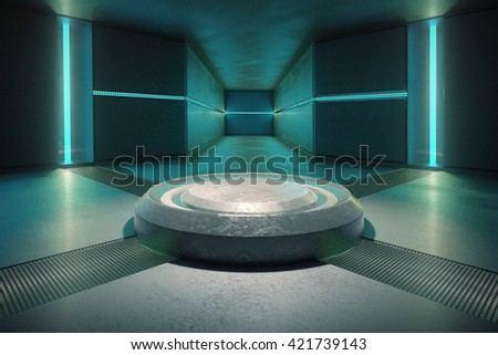 Abstract concrete interior illuminated with turquoise lights. 3D Rendering - stock photo