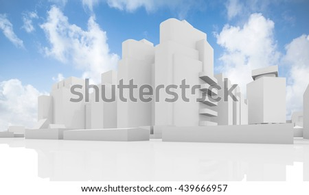 Abstract contemporary cityscape over cloudy sky, houses, industrial buildings and office towers. 3d render illustration isolated on white - stock photo