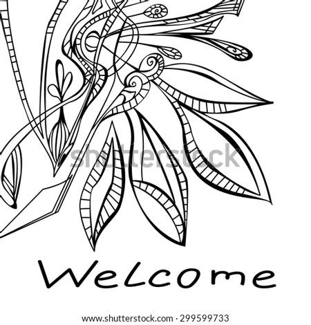 "Abstract contour floral pattern with the words ""welcome"", raster copy of illustration - stock photo"