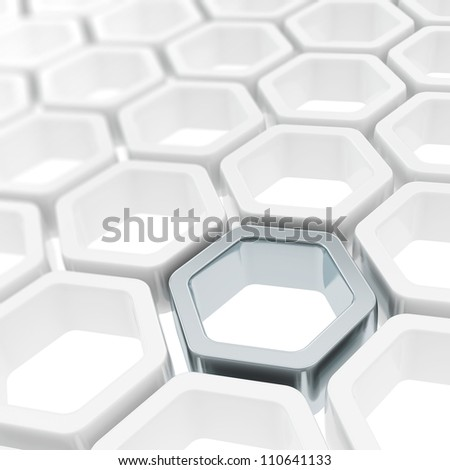 Abstract copyspace background made of metal hexagon element among white ones - stock photo