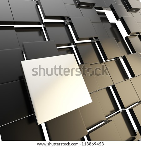 Abstract copyspace dark background made of chrome metal glossy square plate among black ones - stock photo